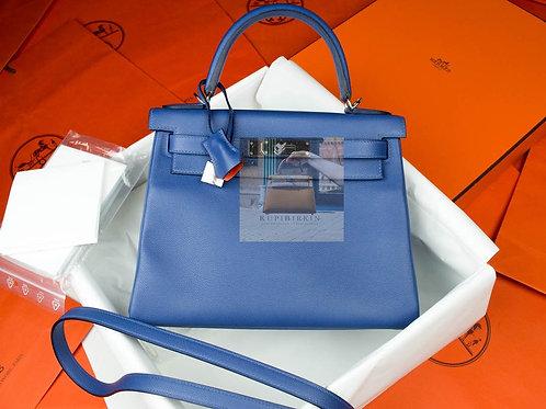 Hermes Kelly 28 Blue Brighton Capucine Evercolor Palladium Hardware