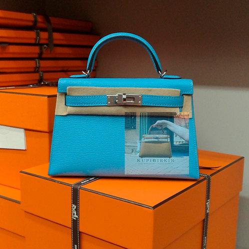 Hermes Kelly 20 Blue Seleste Chevre Palladium Hardware