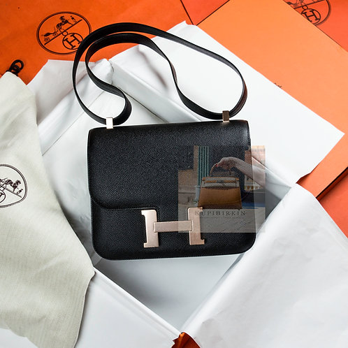 Hermes Constance 24 Black Epsom Rose Gold Hardware