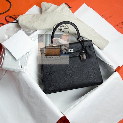 Hermes Kelly 25 Black Epsom Sellier Palladium Hardware