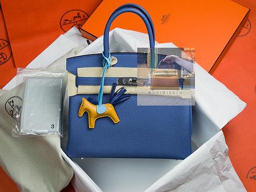 Hermes Birkin 30 Bleu Brighton Togo Palladium Hardware