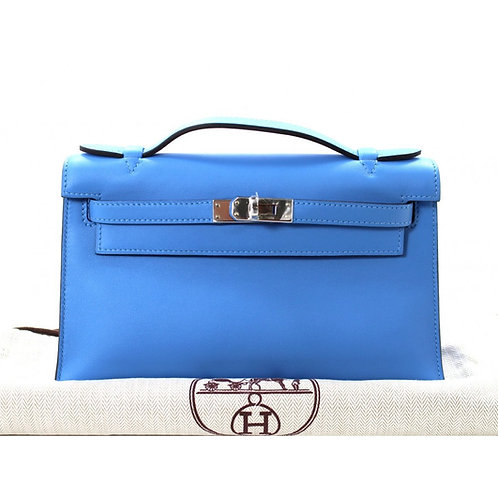 Hermes Kelly Pochette Blue Paradise Swift Leather PHW