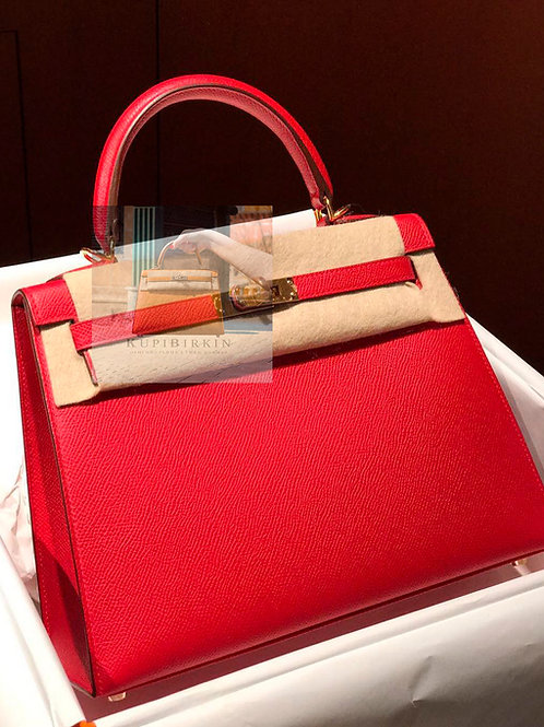Hermes Kelly 25 Rouge Casaque Epsom Sellier Gold Hardware