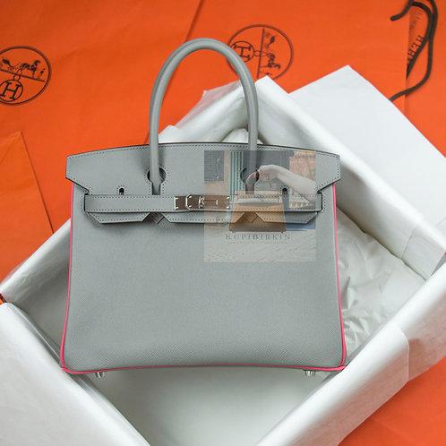 Hermes HSS Birkin 30 Gris Mouette и Rose Lipstick Epsom PHW