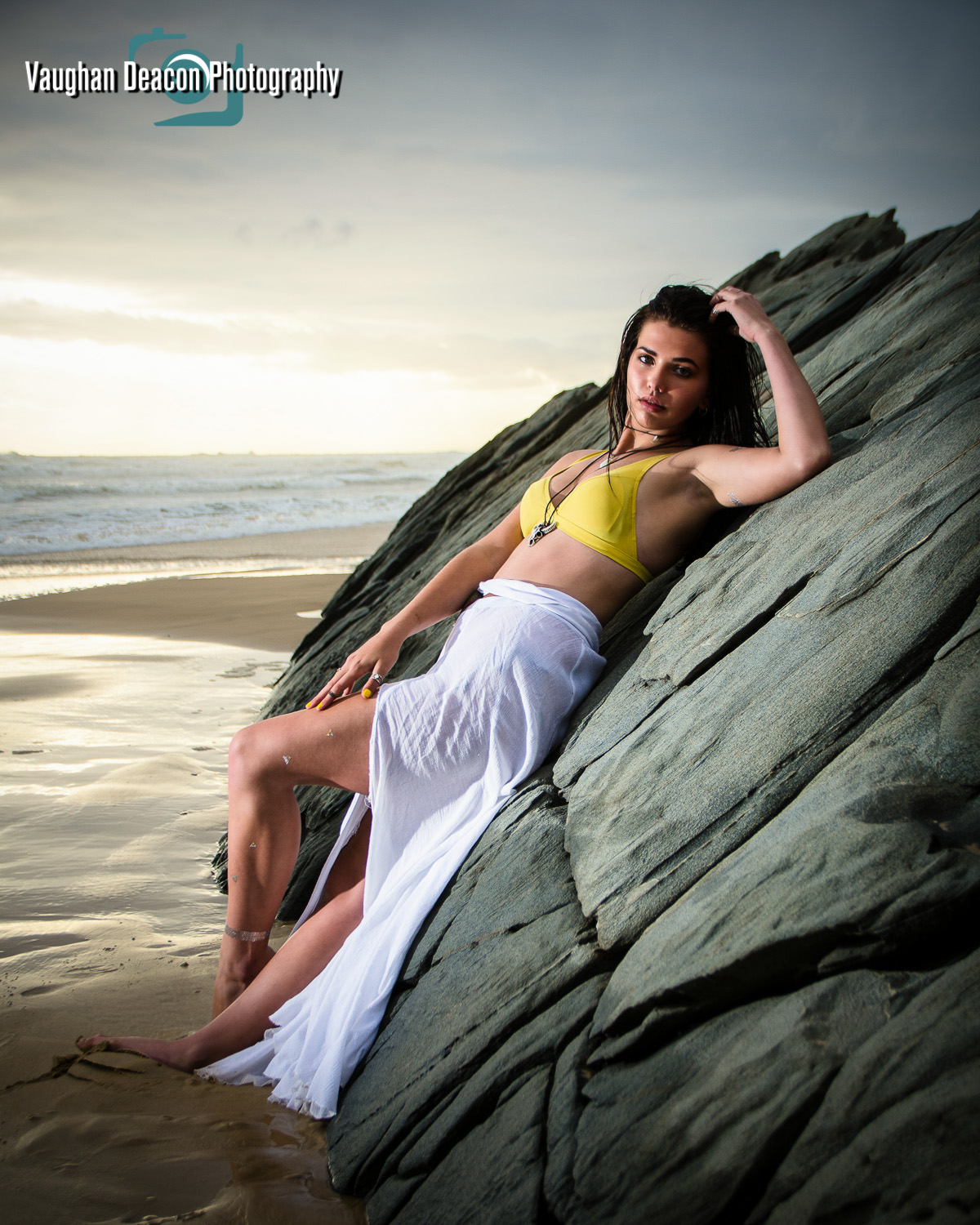 Reclined beach portrait