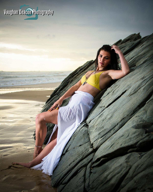 Reclined beach portrait