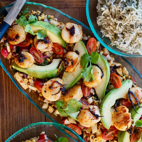 Seared Scallops and Charred Corn, Poblano, and Jimaca Salad with a Honey Lime Vinaigrette