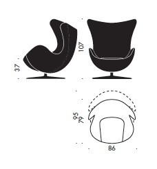 Arne Jacobsen's Egg Chair Dimensions - Specs