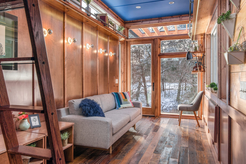 tiny house living couch
