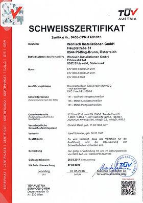 Schweisszertifikat