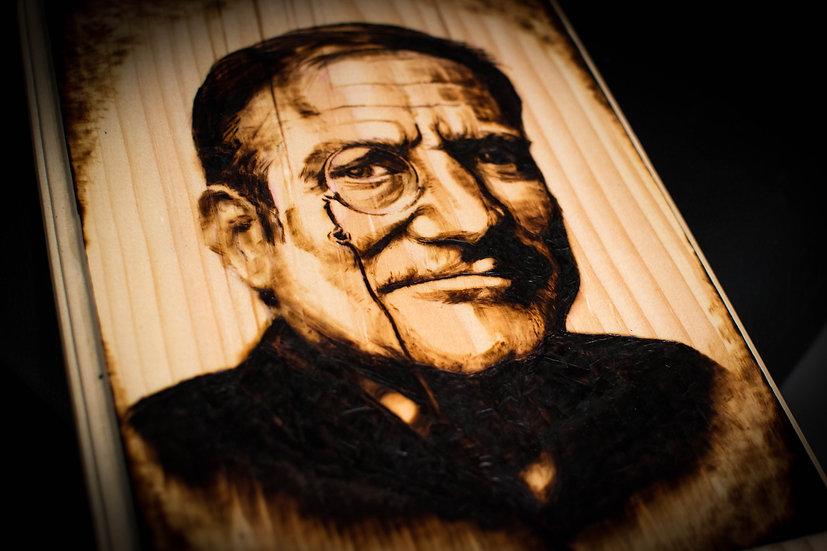 "8""x10"" Wood Panel Burn ""Robin Williams"""