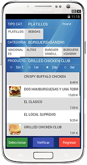 RestBar interfase movil productos