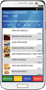 Intefase RestBar Movil Productos