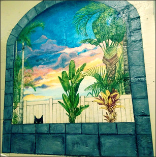 Faux Window Mural (featuring Pete the Cat)