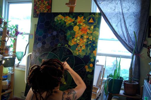 "Working on ""The Honeycomb Merkaba"""