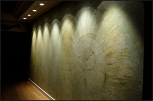 Coral rock fossil dining room mural