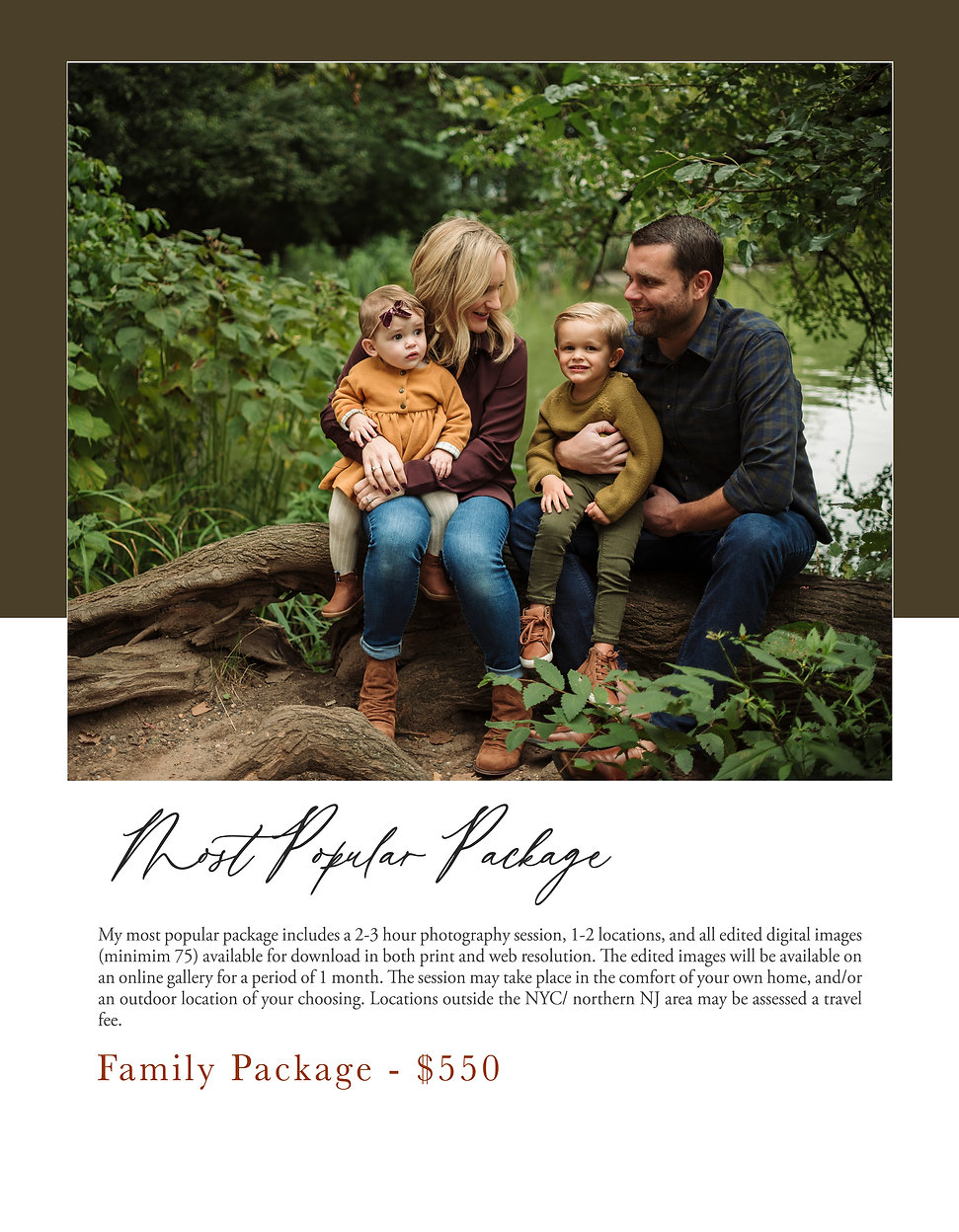 Pricing Spread  Family Session is $550