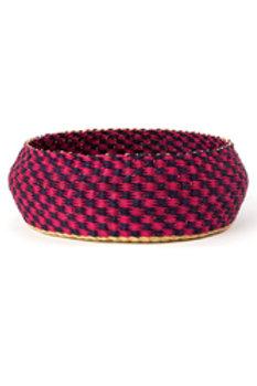 """12"""" Pink & Plum Checkered Bread Basket"""