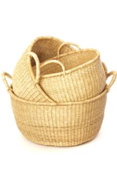 Set of Three Natural Woven Grass Floor Baskets