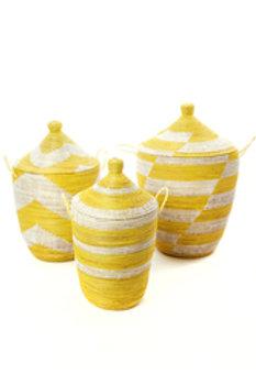 Set of Three Yellow and White Mixed Pattern Hamper