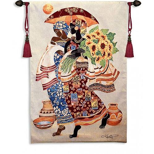 Sunflowers & Umbrella Tapestry Wall Art