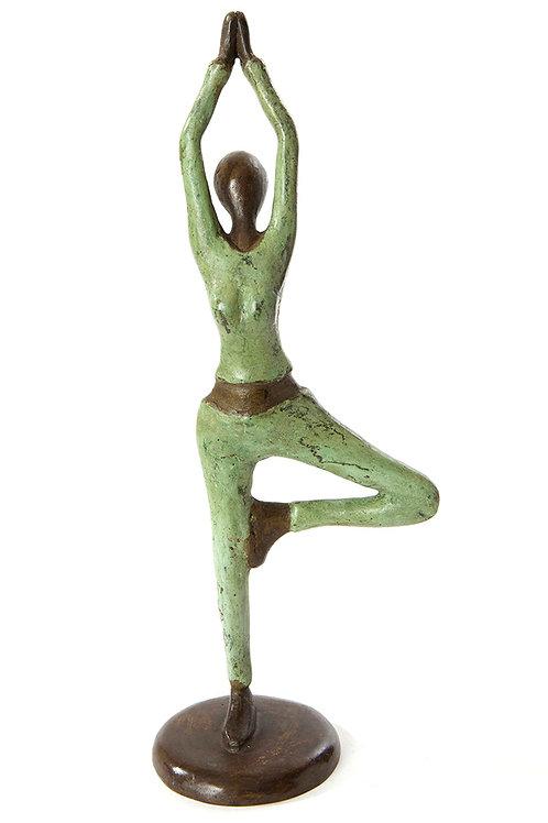 Burkina Bronze Yoga Tree Pose Sculpture