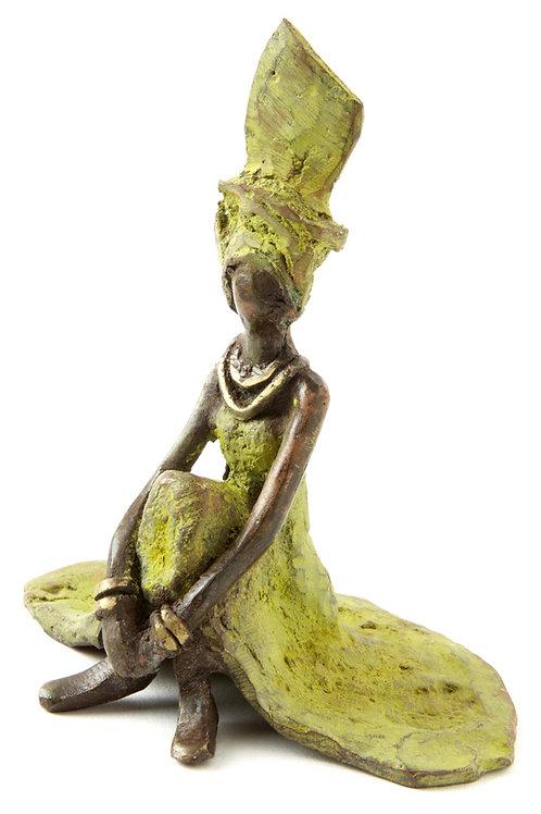 Graciously Waiting Burkina Bronze Sculpture