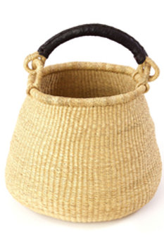 Natural Ghanaian Kettle Basket with Leather Handle
