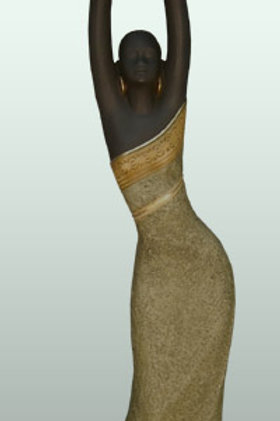 """18"""" Woman Votive Candle-Holder in Tan  - 25730"""