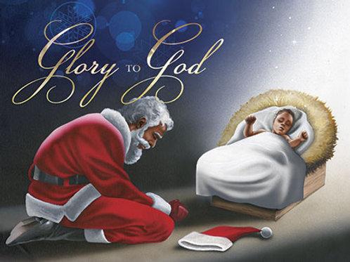 C-902 Glory To God Manger ( Santa and Jesus )