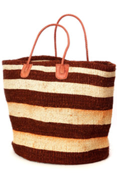 Rust and Natural Sisal Oversize Day Trip Tote