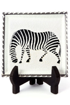 Square Soapstone Zebra Plates with Display Stand