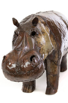 Large Recycled Oil Drum Hippo Sculpture
