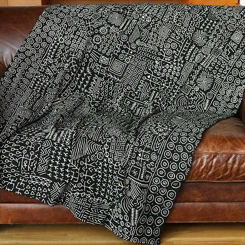 African Mud Cloth Throw Blanket