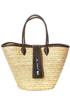 Savanna Sunset Plaited Palm Shopper with Beaded Le