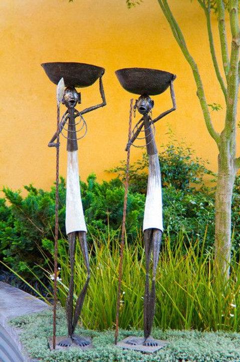 Kenyan Cow Horn Warrior Bowl Sculptures
