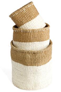 Set of Three Dual Tone Sisal Baskets