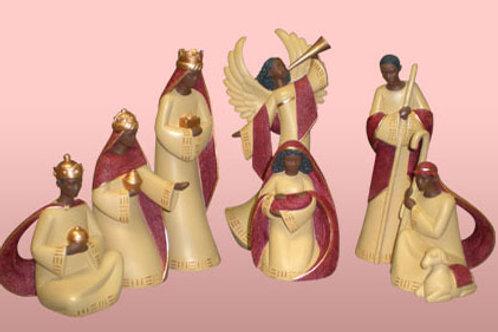 Nativity Set In Cream / Red