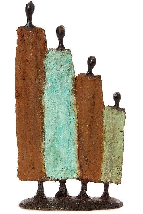 Burkina Bronze Nomad Family of Four Sculptures
