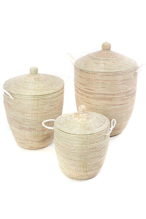 Set of Three Solid White Hampers