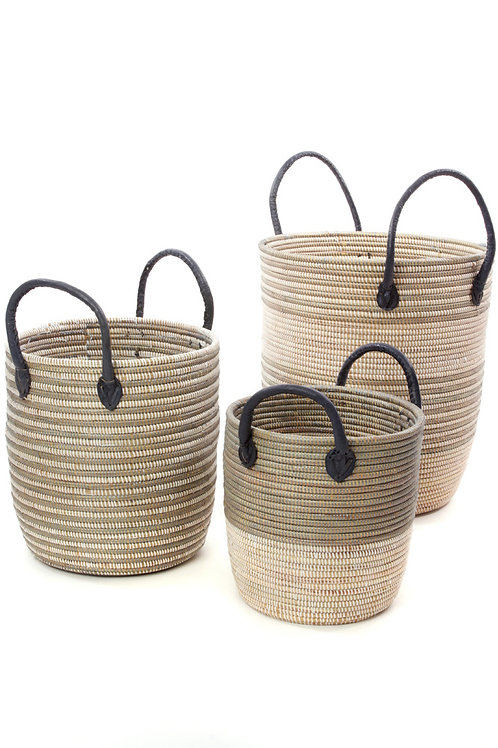 Set/3 Silver Mixed Stripe Baskets