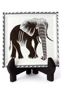 Decorative Square Soapstone Elephant Plate