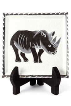 Decorative Square Soapstone Rhino Plate