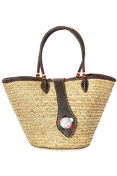 Savanna Star Plaited Palm Shopper with Beaded Leat