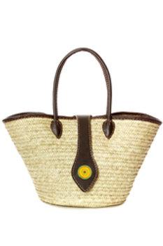 Savanna Sun Plaited Palm Shopper w/ Beaded Leathe