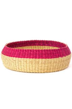 "14"" Pink Rim Bread Basket"