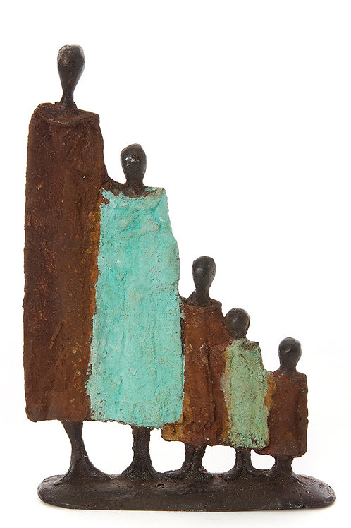 Burkina Bronze Nomad Family of Five