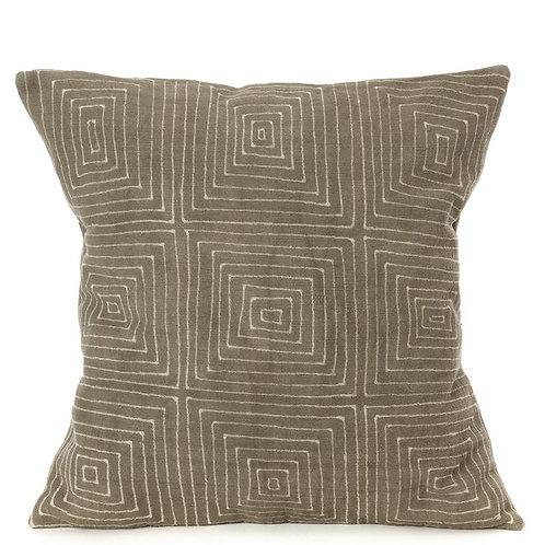 Gray Segou Squares Mud Cloth Throw Pillows