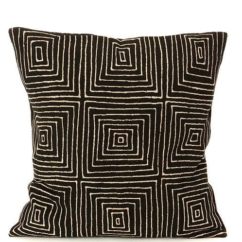 Black Segou Squares Mud Cloth Throw Pillow