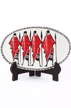 Decorative Oval Soapstone Maasai Plate